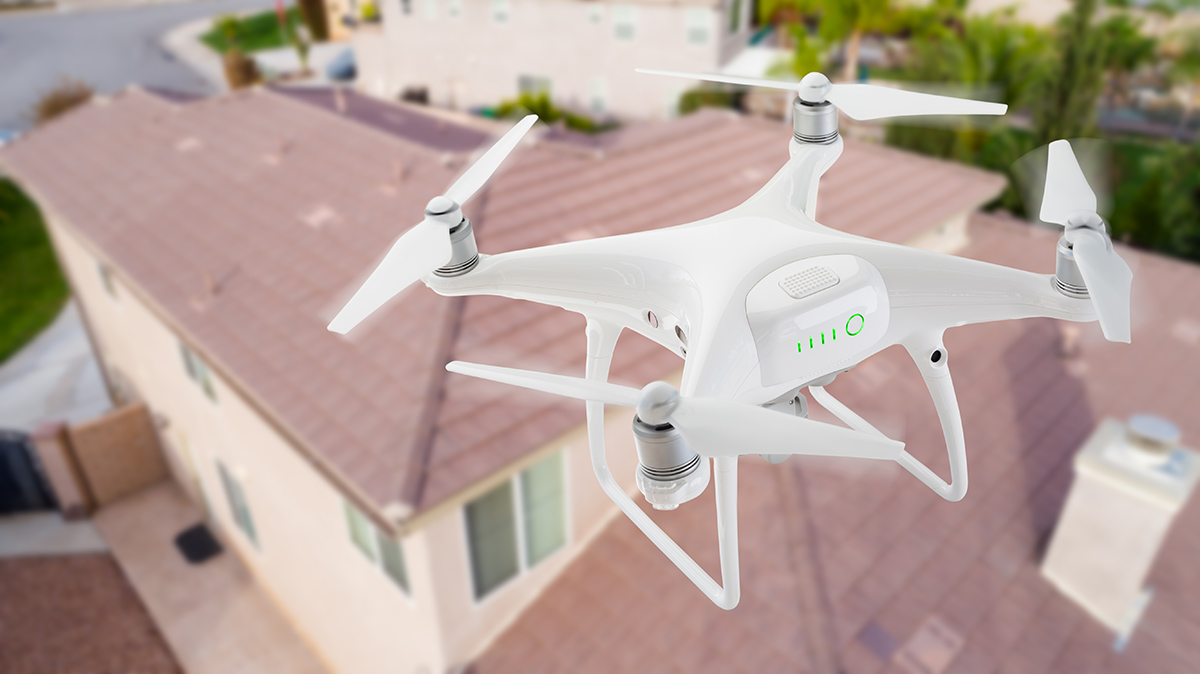 unmanned drone used for roof inspection