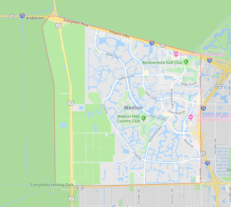 weston florida google map